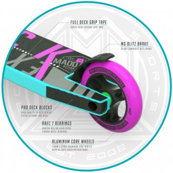 Madd Gear Kick Extreme V4 Complete Scooter - Teal/Pink