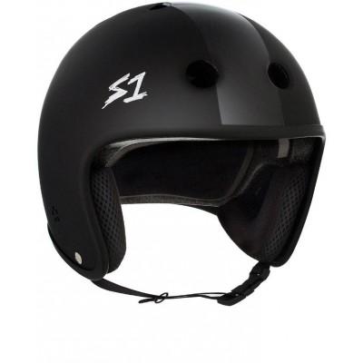 S1 Multi Impact Retro Lifer Helmet - Matte Black with Black Stripes