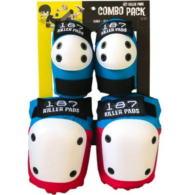 187 Killer Pads Combo Pack Knee & Elbow Pads - Red/White/Blue