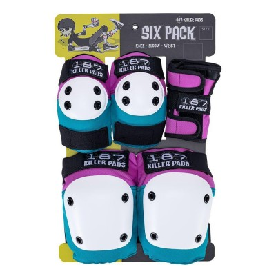 187 Killer Pads Jr. Six Pack Set - Pink/Teal