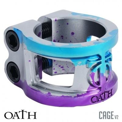 Oath Cage 2 Bolt V2 Scooter Clamp - Blue/Purple/Titanium