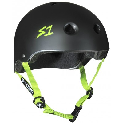S One Lifer Helmet – Black Matte With Green Straps