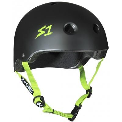 S One Lifer Helmet – Black Matte With Green Straps