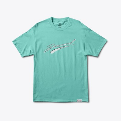 Diamond Brush Script Tee Blue