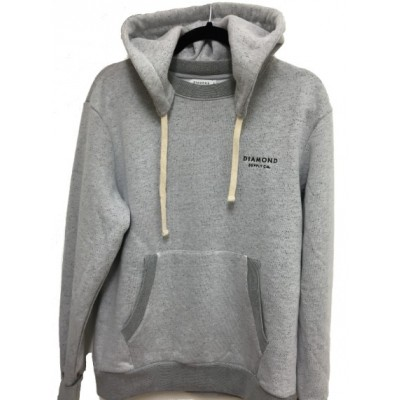 Diamond Stone Cut Pullover Hoodie - Grey