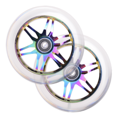 Fuzion Ace Scooter Wheels 120mm Neochrome/Clear PU (PAIR)