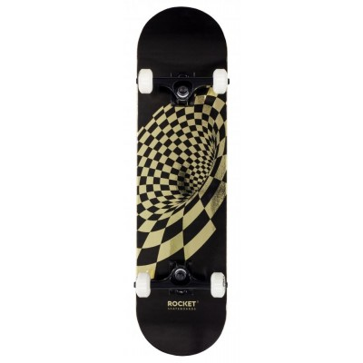 """Rocket Vortex Foil Complete Skateboard 8"""" - Gold"""