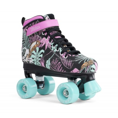 SFR Vision Canvas Quad Roller Skates Black Floral