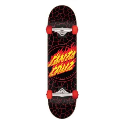 """Santa Cruz Flame Dot Full Complete Skateboard Black - 8"""""""