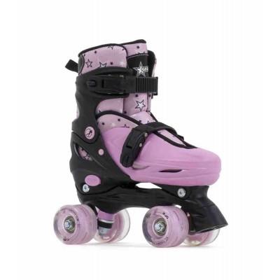 SFR Nebula Lights Adjustable Quad Roller Skates - Black/Pink
