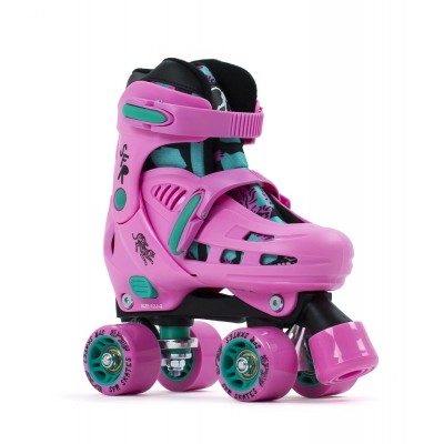 SFR Storm IV Adjustable Quad Roller Skates - Pink/Green