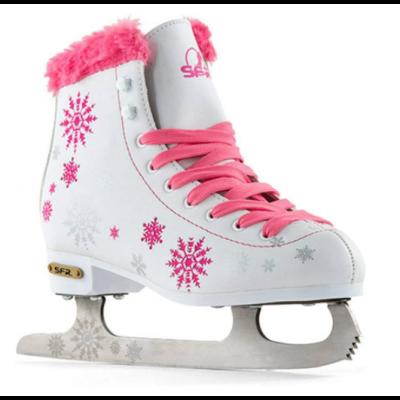 SFR Snowflake Kids Ice Figure Skates - White/Pink