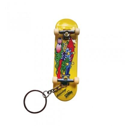 Santa Cruz Slasher Fingerboard Keychain - Yellow