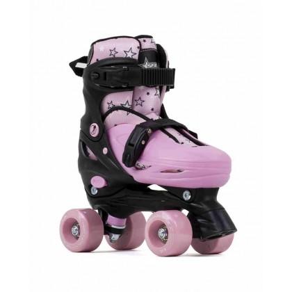 SFR Nebula Adjustable Quad Roller Skates - Black/Pink